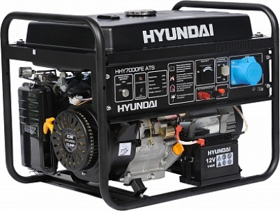 Бензиновый генератор HYUNDAI HHY 7000FE с электростартом +колесики и счетчик моточасов