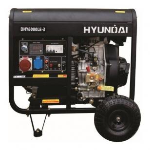 Дизельный генератор HYUNDAI DHY 6000LE3 трехфазный с электростартом + колеса