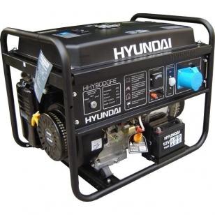 Бензиновый генератор HYUNDAI HHY 9000FE с электростартом  + колесики и счетчик моточасов