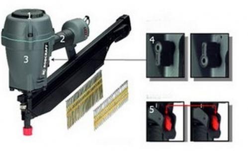 Пистолет гвоздезабивной пневматический (гвоздезабиватель) RODCRAFT 5920, 50-90мм