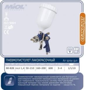 Краскопульт с верхним баком MIOL HVLP, синий,  1,4мм