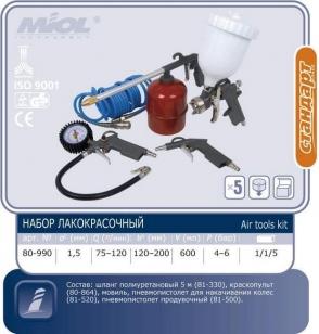 Набор пневмоинструмента лакокрасочный MIOL 80-990